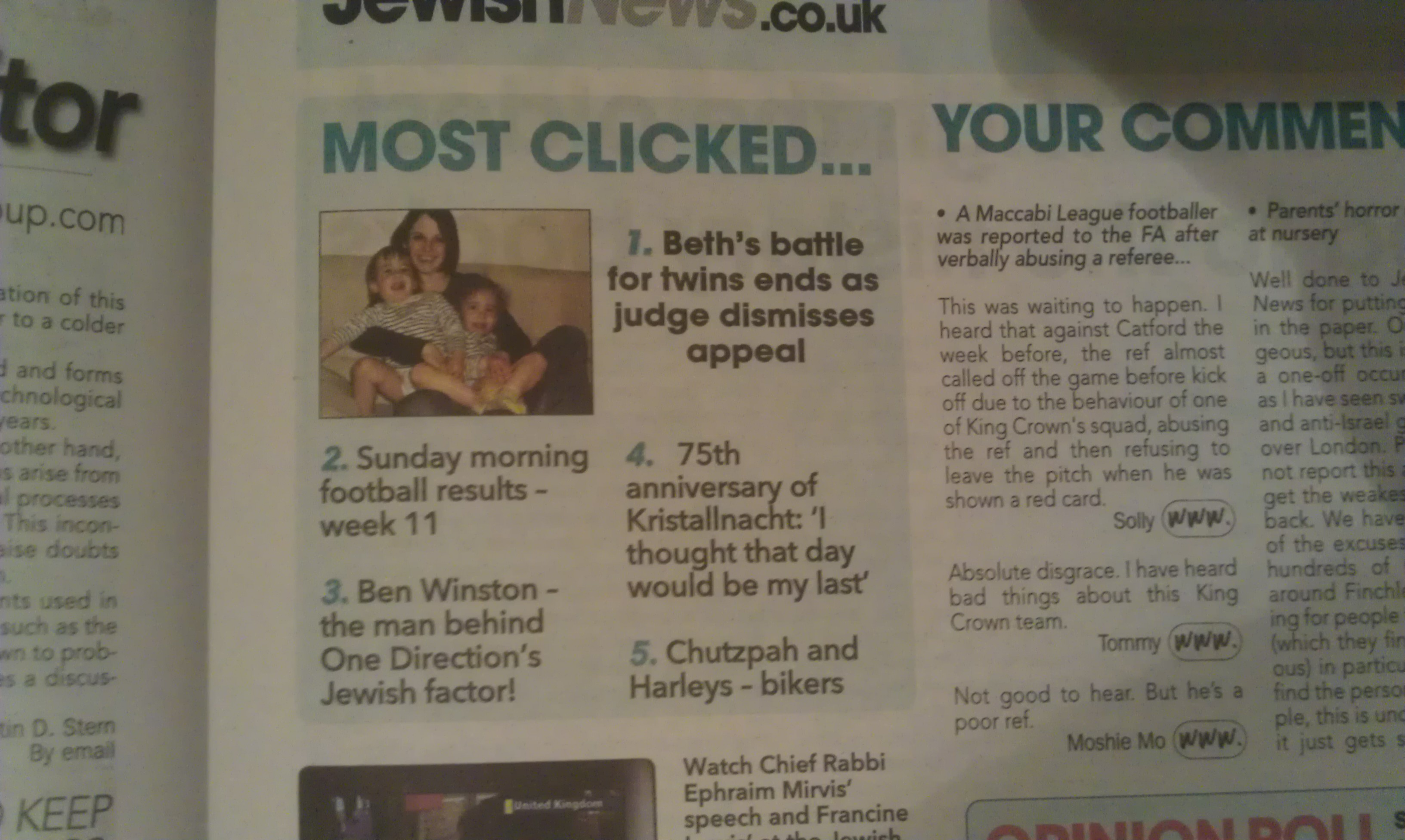 Most Clicked Item on the Jewish News website