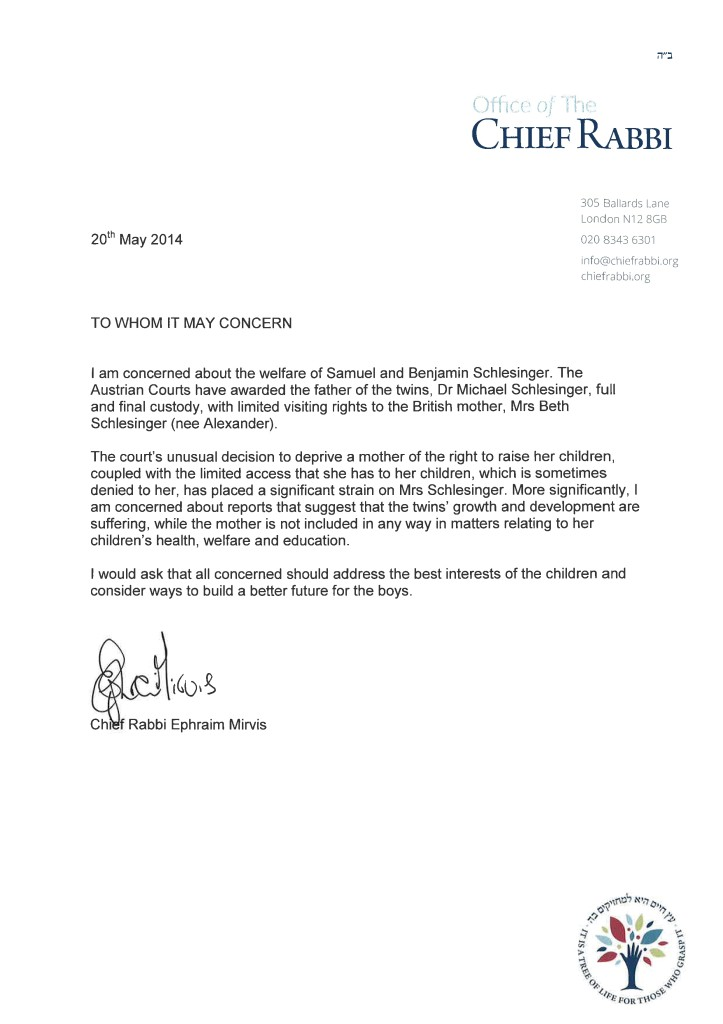 Open Letter from Chief Rabbi Mirvis