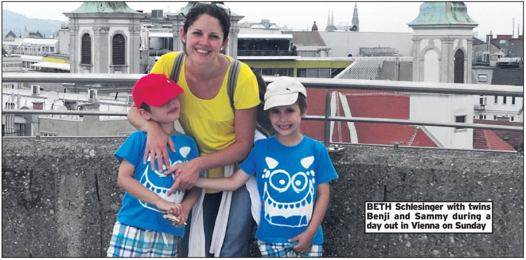 BETH Schlesinger with twins Benji and Sammy during a day out in Vienna on Sunday